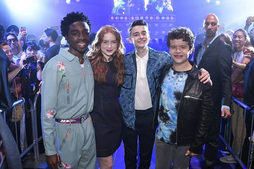 Teenage stars (from far left) Caleb McLaughlin, Sadie Sink, Noah Schnapp and Gaten Matarazzo in Tokyo for a fan event, ahead of the premiere of the third season of Stranger Things next week.
