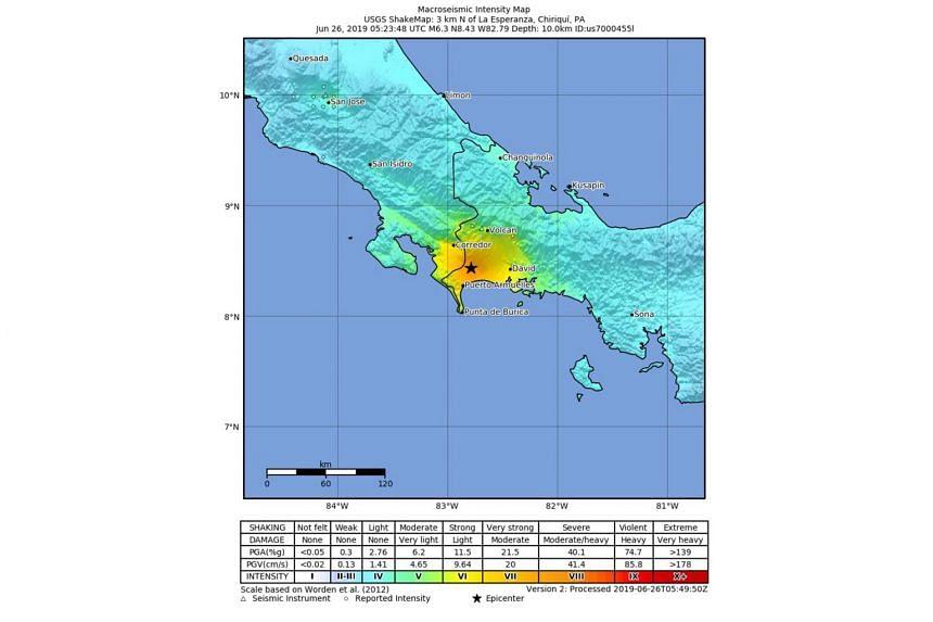 The 6.3-magnitude earthquake struck at a depth of 10km, close to the border with Costa Rica near La Esperanza, Panama.