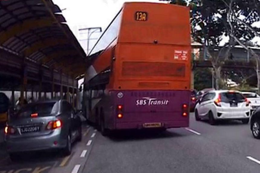 A SBS Transit double-decker bus crashed into the shelter of a taxi stand at Bishan MRT Station during the morning rush hour on June 26, damaging it.