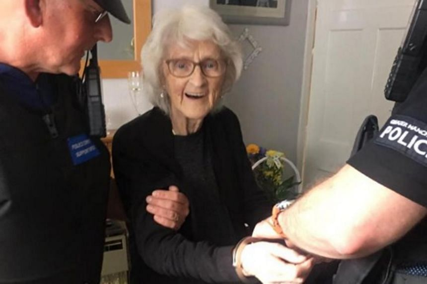 To her great delight, Josie Bird was handcuffed by officers and taken to the local police station.