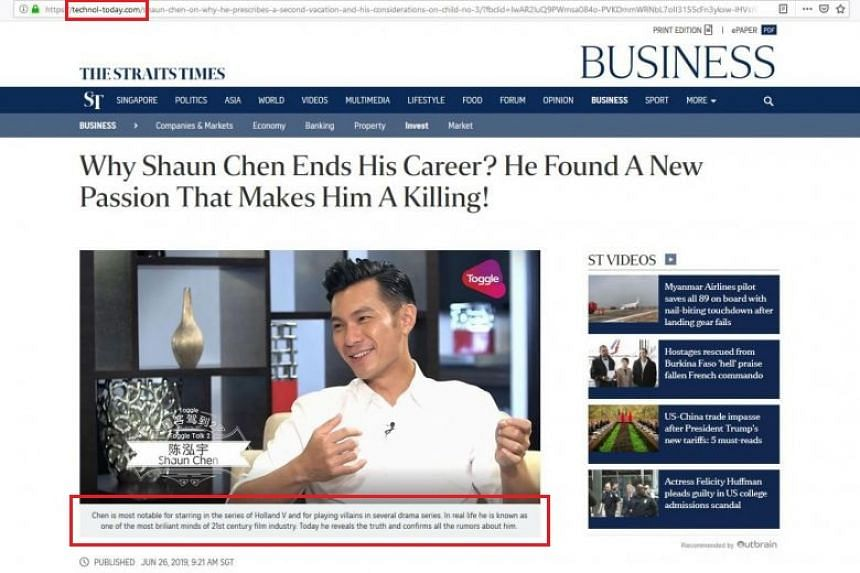 The page, which mirrors The Straits Times's website, displays a story about local TV actor Shaun Chen ending his career to focus on trading in digital currencies.