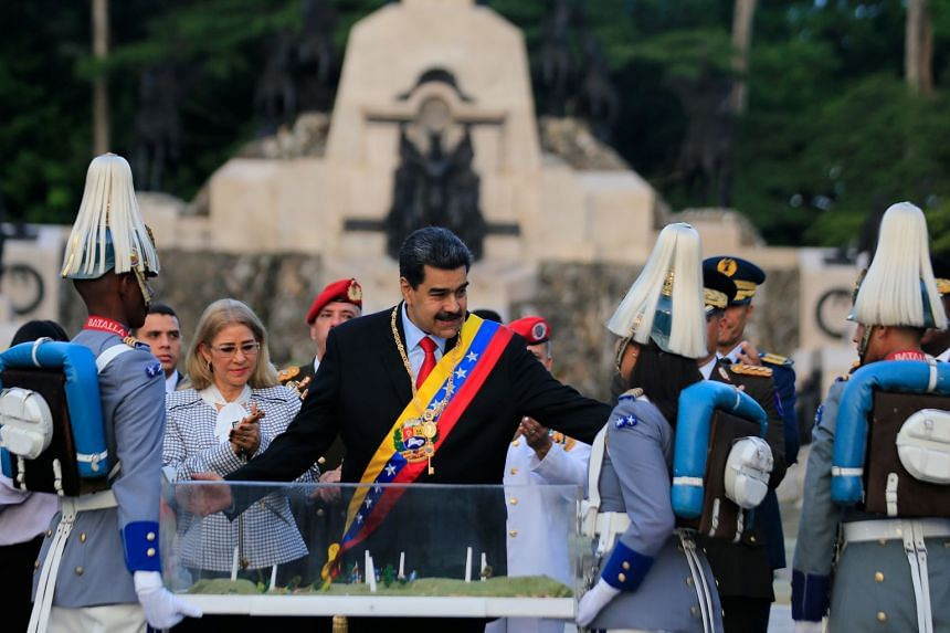 Maduro takes part in a ceremony to celebrate the 198th anniversary of the Battle of Carabobo in Venezuela.