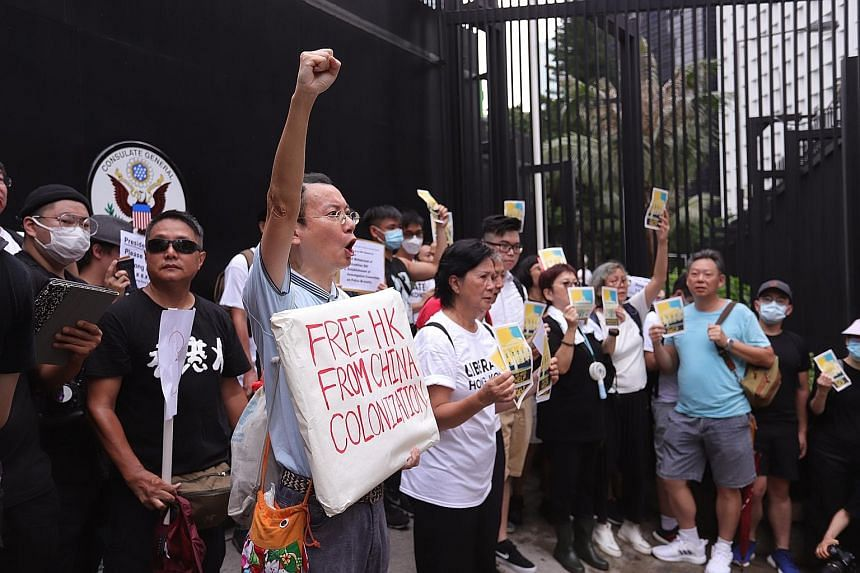 Protesters outside the American consulate in Hong Kong during a demonstration against the controversial extradition Bill. They want the G-20 countries to raise concerns about the city's autonomy during their summit in Osaka.