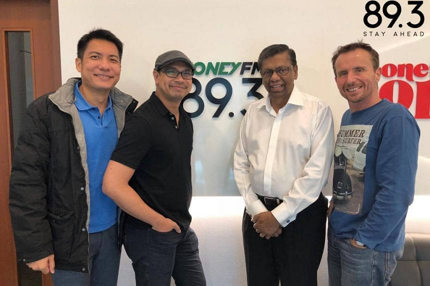 Mr David Gerald (second from right), CEO of Securities Investors Association (Singapore) reflects on how Sias has evolved in the past two decades, with the Money FM podcast team.