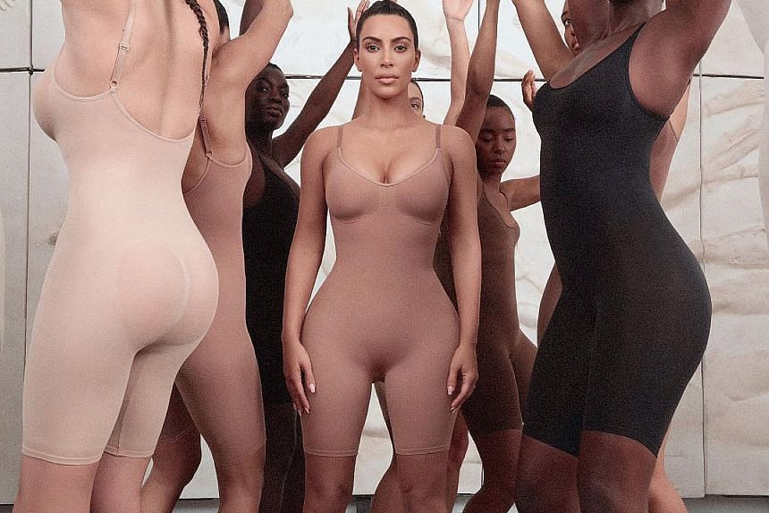 Kim Kardashian West with her new line of slimming undergarments, called Kimono Solutionwear, which is launching soon.