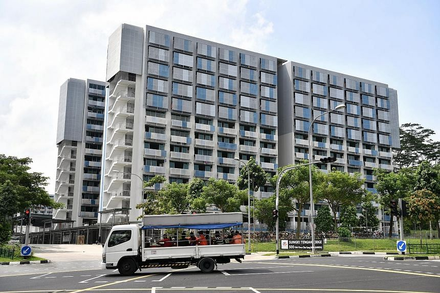 Sungei Tengah Lodge in Old Choa Chu Kang Road, where three of the five Bangladeshi workers with measles were staying. The three men stayed in different blocks of the dormitory and had no known contact with one another. ST PHOTO: CHONG JUN LIANG