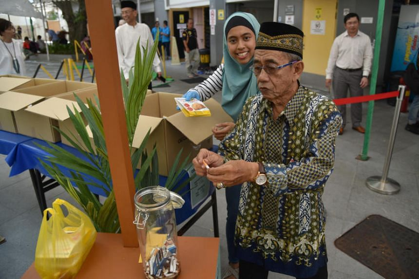 "From end-June to mid-October this year, smokers in the Malay community can come by the ""Puff for a Puff"" booth at 22 partner mosques and trade their cigarettes for free curry puffs."