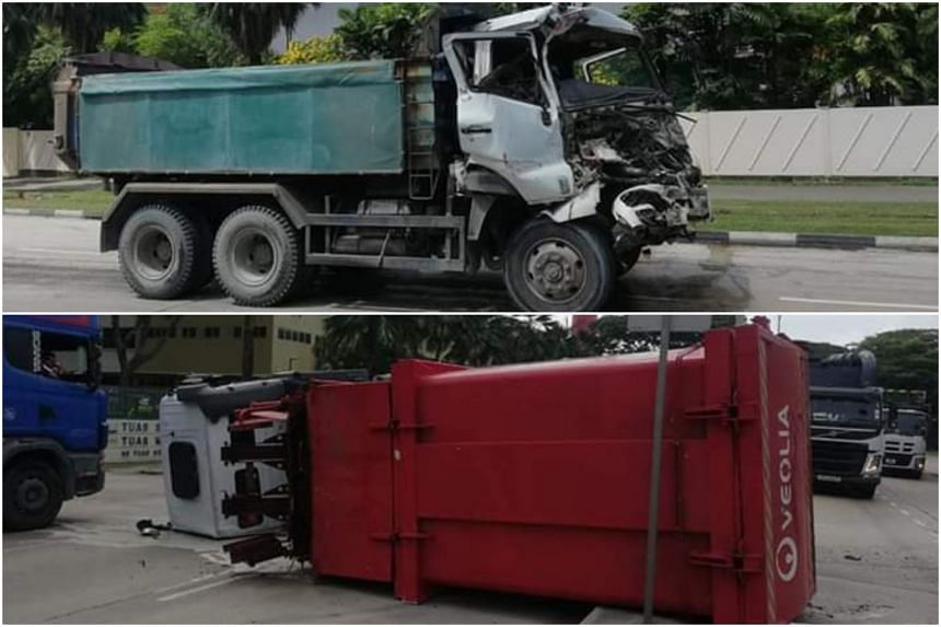 The 62-year-old tipper truck driver died from his injuries after an accident between his vehicle (top) and a trailer in Tuas South Avenue 3 on June 28, 2019.