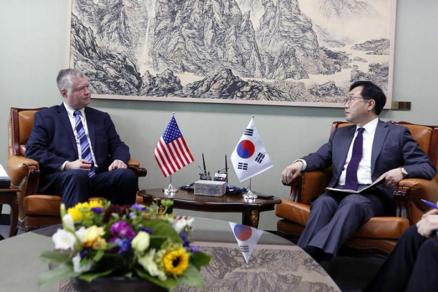 US special envoy to North Korea Stephen Biegun meets his South Korean counterpart Lee Do-hoon at the Ministry of Unification in Seoul on June 28, 2019.