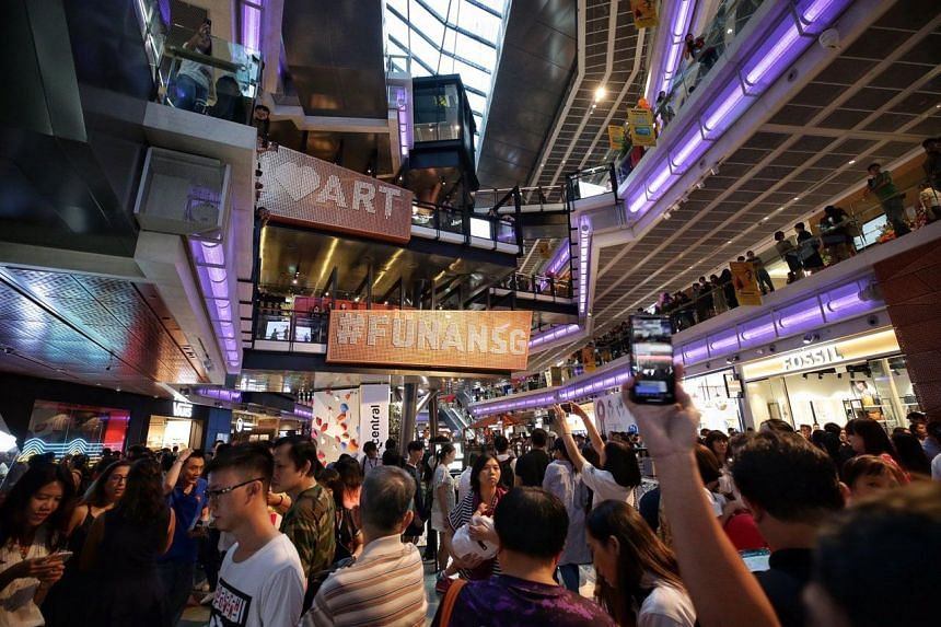 Patrons on the first level of the new Funan mall after it was opened to the public, on June 28, 2019.