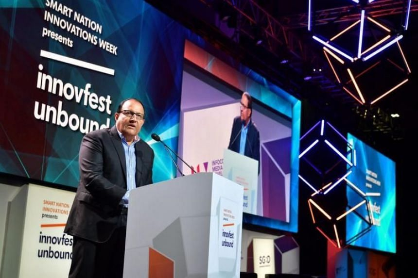 Minister for Communications and Information S. Iswaran at the opening of technology conference Innovfest Unbound at the Marina Bay Sands Convention Centre on June 26, 2019.