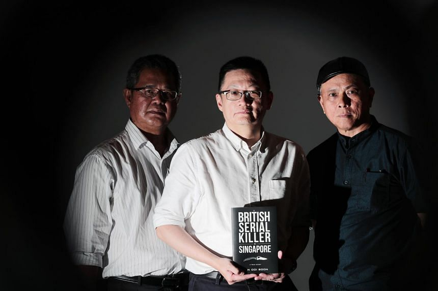 Author of the true-crime book A British Serial Killer In Singapore Tan Ooi Boon (centre) together with case investigators Zainudin Lee (right) and Zainal Abidin Ismail.