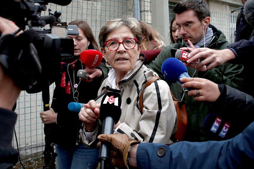 Viviane Lambert, mother of French quadriplegic Vincent Lambert, arrives at Sebastopol Hospital in Reims, France.