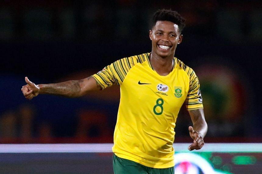 South Africa's Bongani Zungu celebrates scoring.