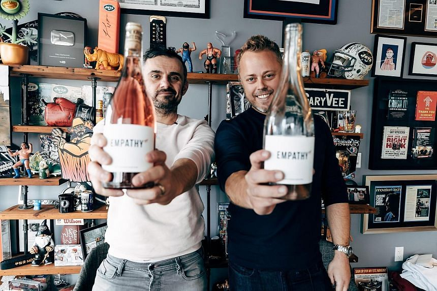 Internet personality Gary Vaynerchuk (left) goes back to his wine roots with Empathy Wines, which he will launch next month through Australian online wine merchant Vinomofo, of which Mr Justin Dry is co-founder and chief executive officer.
