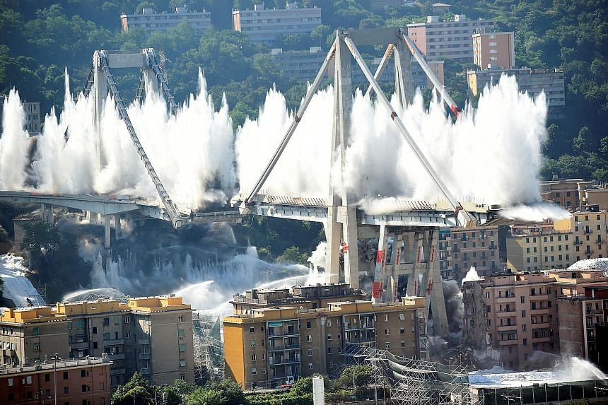 The remaining parts of the Morandi bridge in Genoa were destroyed yesterday, almost a year after a section of the viaduct collapsed, killing 43 people.