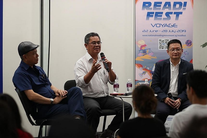 From far left: Former inspectors Zainudin Lee and Zainal Abidin Ismail and Tan Ooi Boon, author of A British Serial Killer In Singapore, answering questions from participants at The Straits Times Book Club on Wednesday.