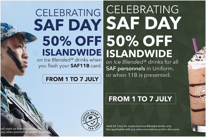 Coffee Bean Tea Leaf Apologises For Gaffe In Saf Day Discount Promotional Artwork Singapore News Top Stories The Straits Times
