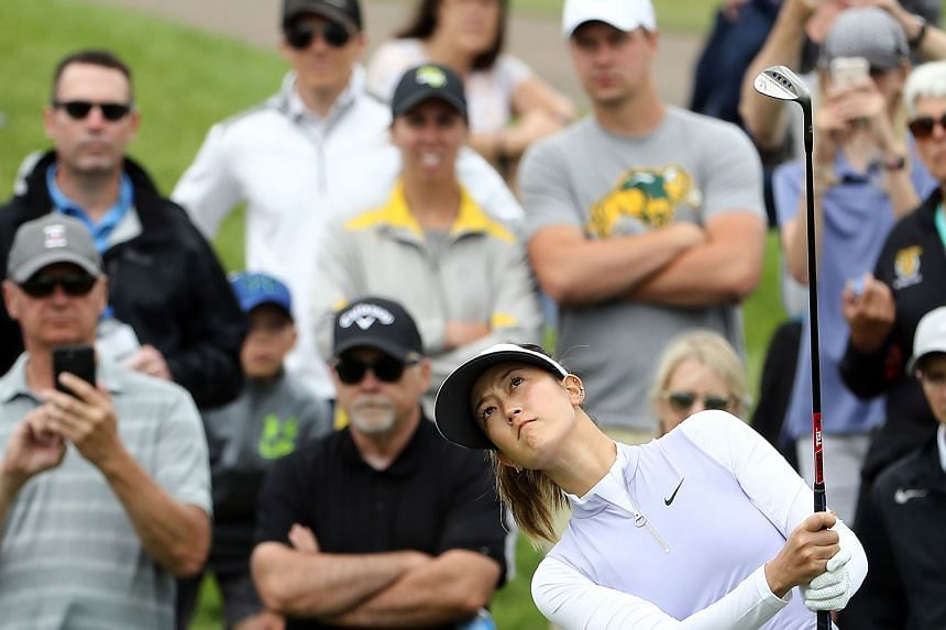 Michelle Wie hits her third shot on the 1st hole during the second round of the KPMG Women's PGA Championship.