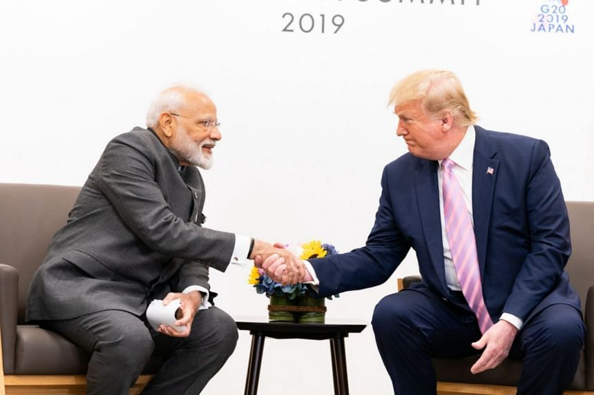 US President Donald Trump meeting Indian Prime Minister Narendra Modi on the sidelines of the G-20 summit on June 29, 2019.