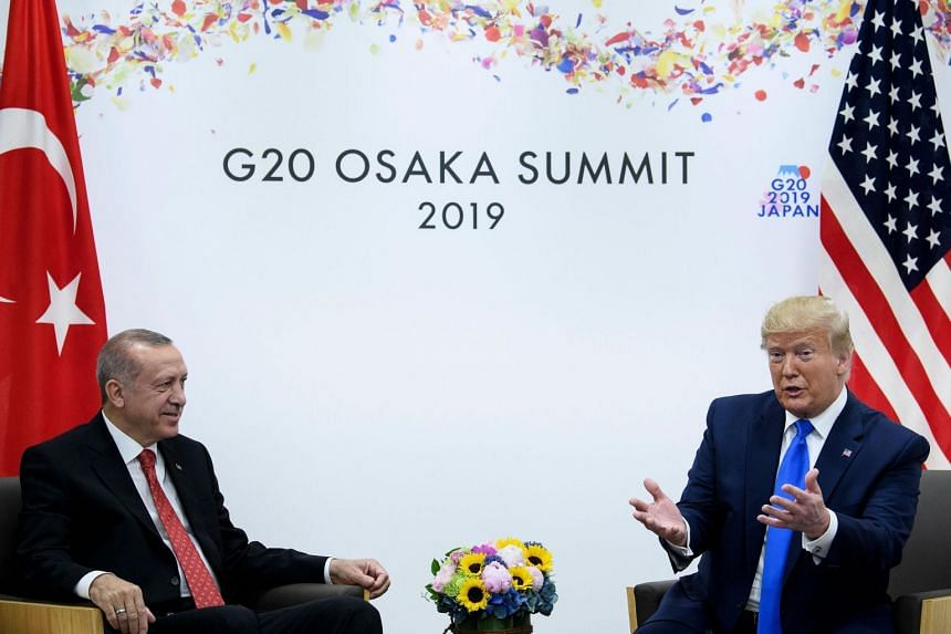 Turkey's President Recep Tayyip Erdogan (left) and US President Donald Trump at a bilateral meeting during the G-20 Summit in Osaka, Japan on June 29, 2019.
