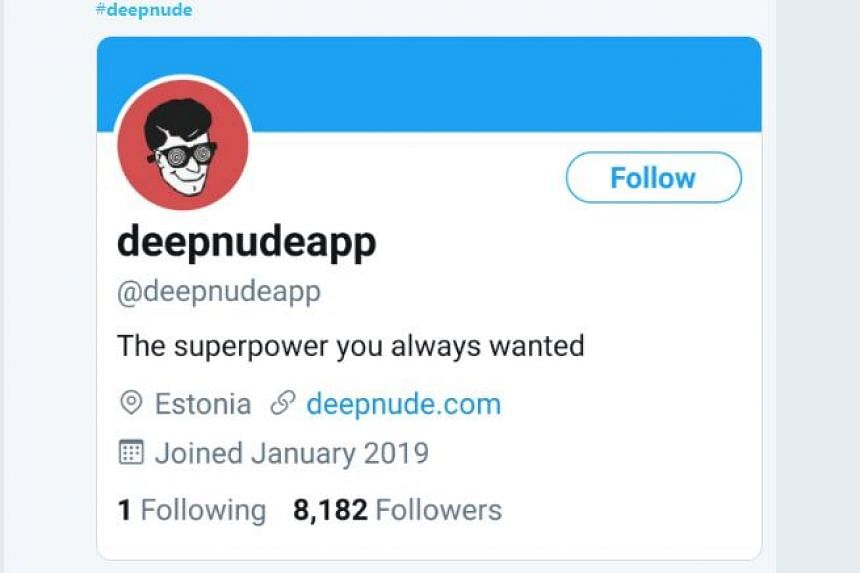 A screengrab taken on June 28, 2019, shows the Twitter account and logo of the DeepNude app.