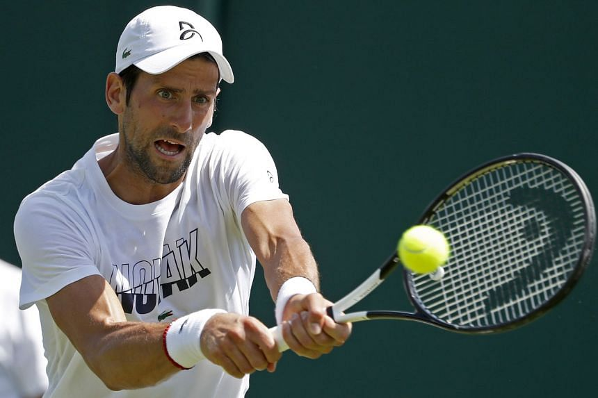 Djokovic in action during a training session for the Wimbledon Championships.