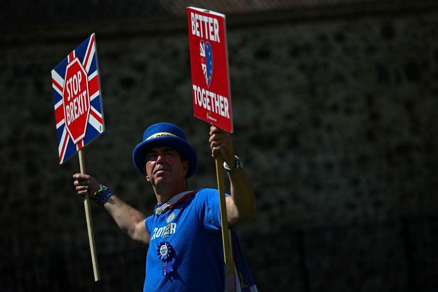 Anti-Brexit protester Steve Bray demonstrates outside the Houses of Parliament in London.