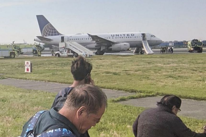 People are seen near the plane after its emergency landing in a photo posted to social media.