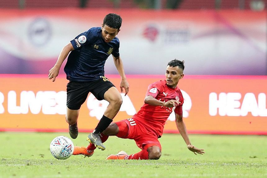 Singapore Premier League debutant Farhan Zulkilfli (left) opened the scoring to pave the way for Hougang United's 2-0 win at Home United.