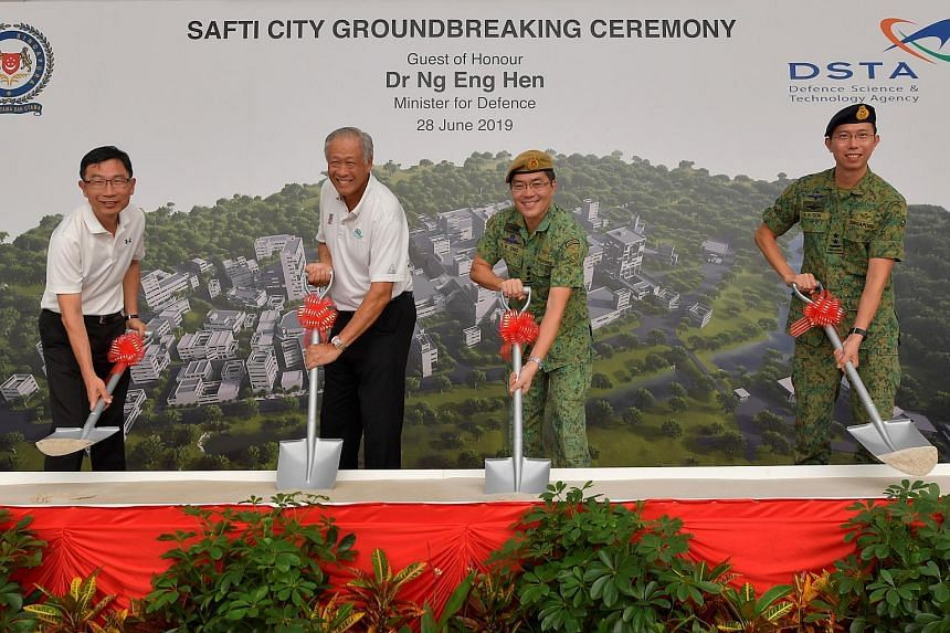 (From left) DSTA CEO Tan Peng Yam, Defence Minister Ng Eng Hen, Chief of Defence Force Melvyn Ong and Chief of Army Goh Si Hou, at the ground-breaking ceremony for the first phase of Safti City on June 28, 2019.