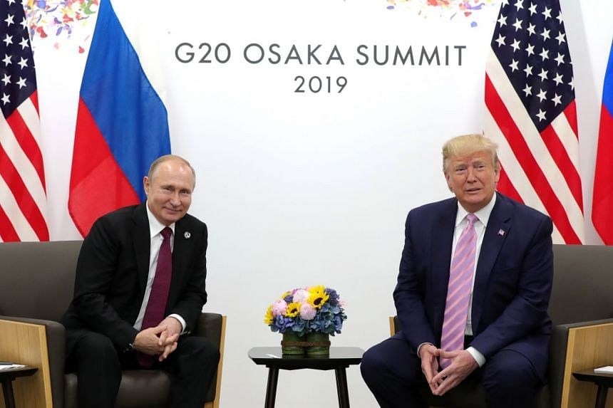 US President Donald Trump and Russian President Vladimir Putin meeting on the sidelines of the G-20 Summit in Osaka, Japan, on June 28, 2019.
