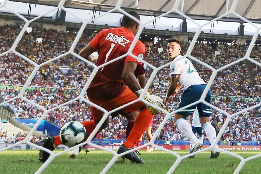 Lautaro Martinez's back-heel flick after just 10 minutes into their quarter-final against Venezuela paved the way for Argentina's 2-0 victory at the Maracana Stadium in Rio de Janeiro on Friday.