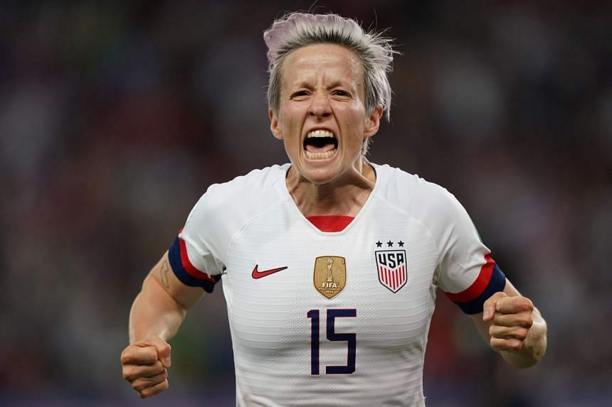 Rapinoe celebrates after a goal against France that sent her team into the women's World Cup semi-finals.