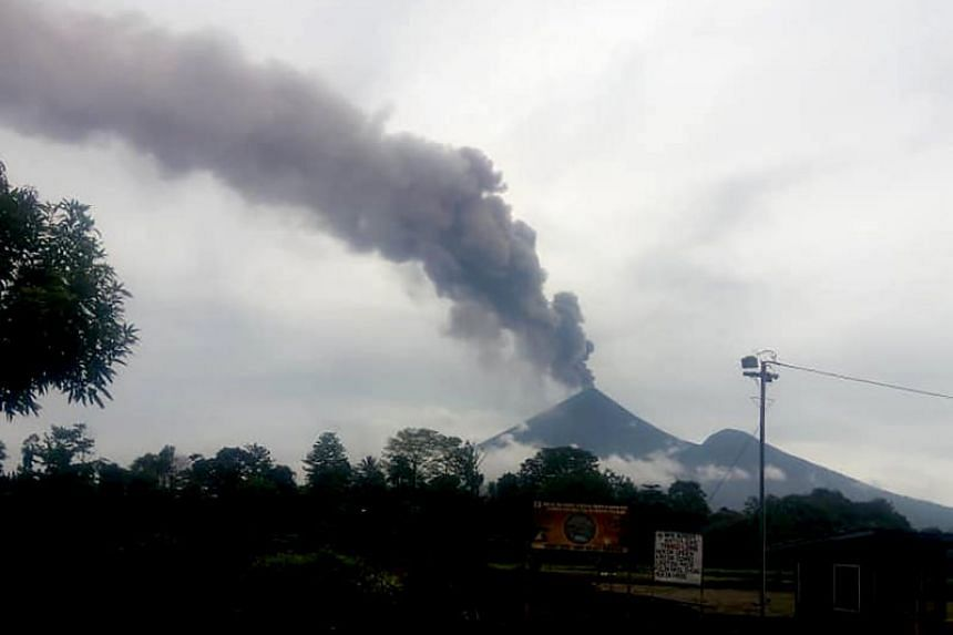 Papua New Guinea's Mount Ulawun spewing ash into the air on June 27, 2019.