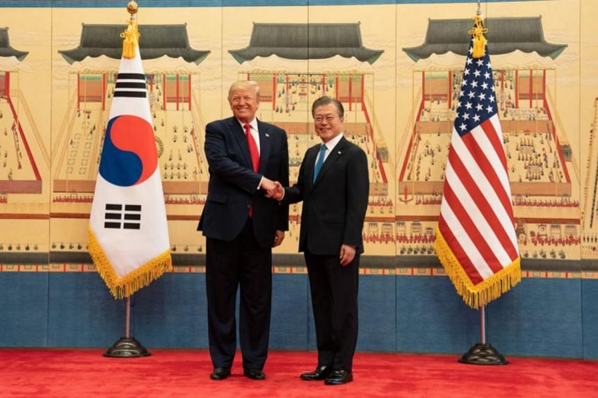 US President Donald Trump and South Korean President Moon Jae-in at a news conference at the Blue House in Seoul, South Korea, on June 30, 2019.