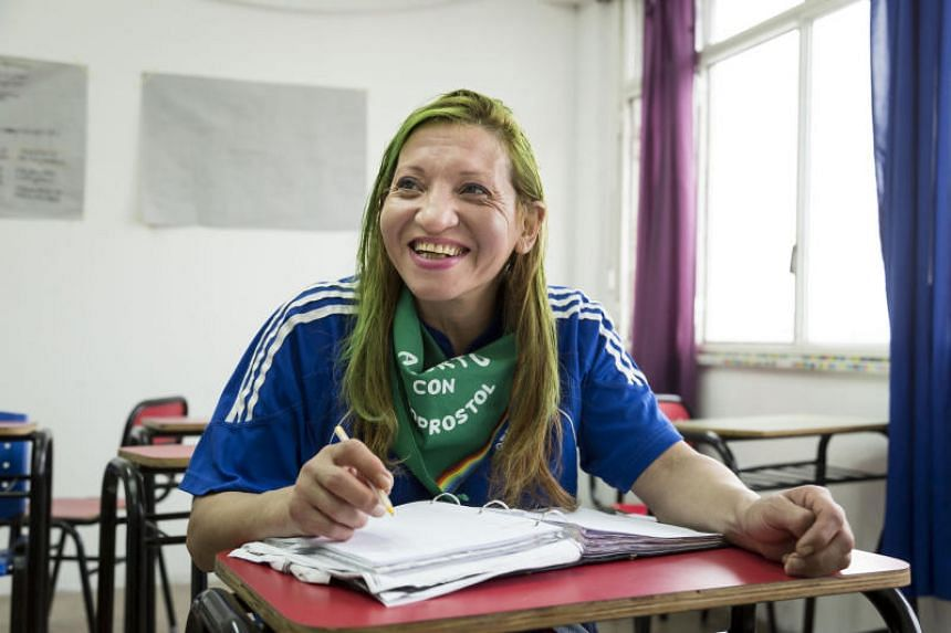 Viviana González, a student at the Trans Mocha Celis public high school. It is the first free, accelerated public high school for transgender adults in Argentina.