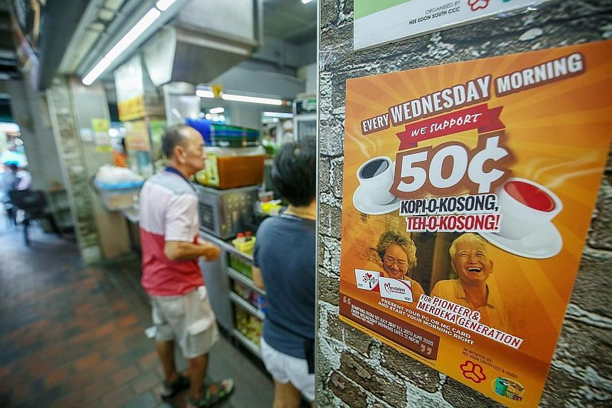 Starting this week, on every Wednesday morning, those in the Merdeka and Pioneer generations can order kopi-o kosong or teh-o kosong at 50 cents instead of the usual $1.10 from coffee shops in Nee Soon South. The promotion aims to get seniors to cut