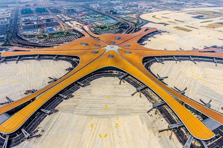 The new Beijing Daxing International Airport covers 700,000 sq m and is located 46km south of Tiananmen Square. It will operate at full capacity in 2025, with four runways and the potential to receive 72 million passengers per year.