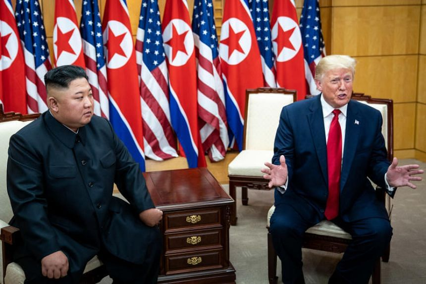 US President Donald Trump and Kim Jong Un, the North Korean leader, hold a bilateral meeting at the Freedom House on the South Korean side of the truce village of Panmunjom, on June 30, 2019.