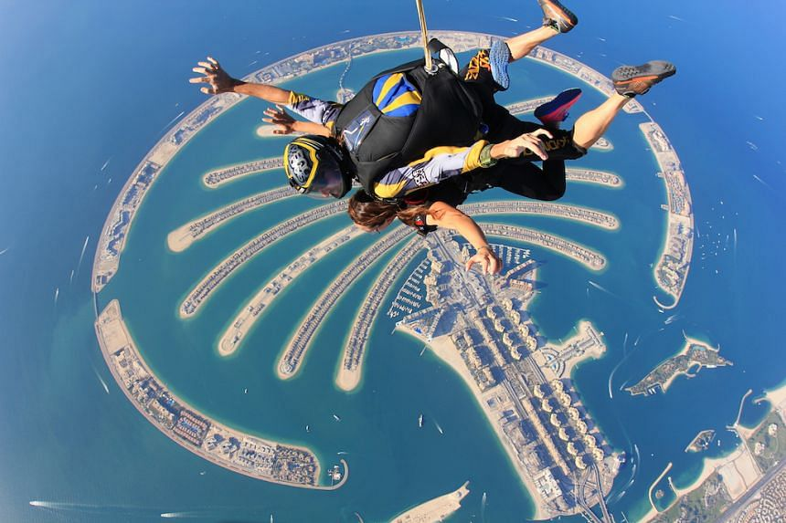Try skydiving and marvel at Palm Jumeirah on your journey back to the ground. PHOTO: TOURISM DUBAI