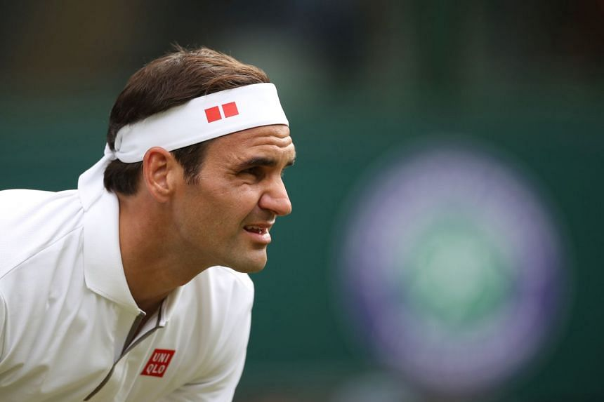 Federer during his first-round match against South Africa's Lloyd George Harris.