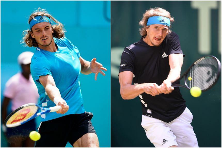 Stefanos Tsitsipas (left) and Alexander Zverev, who suffered shock first-round defeats at Wimbledon on Monday (July 1).