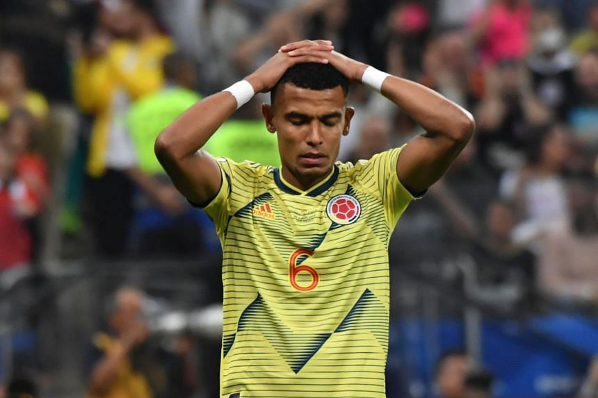 Colombia's William Tesillo gestures after missing his shot during the penalty shoot-out against Chile, on June 28, 2019.