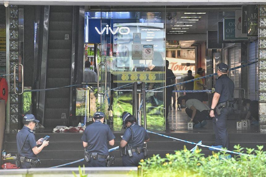 Several police officers were seen gathering evidence near Orchard Towers' entrance, which has been cordoned off, when The Straits Times arrived at the scene at about 11am.