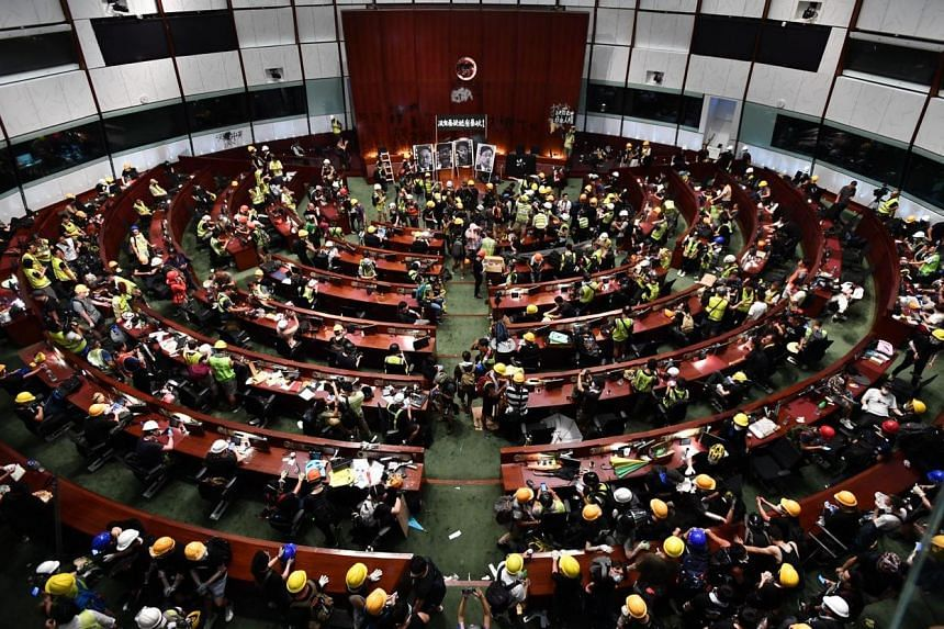 A view of the Legislative Chamber after protesters stormed into the Legislative Council building on July 1, 2019.