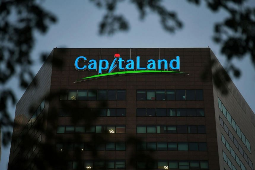 The CapitaLand logo on the facade of its building in Shenton Way, on Jan 11, 2019.