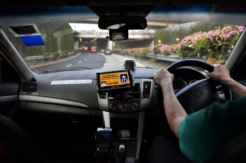 An inward-facing video camera in a taxi. Taxi operators must obtain permission from the LTA to install inward-facing cameras.