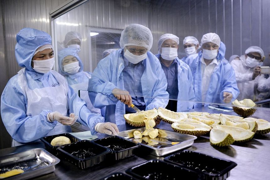 Malaysian Agriculture and Agro-based Minister Salahuddin Ayub (holding a knife) helping to prepare durians for export to China during his visit to JL Food Industries earlier this year.