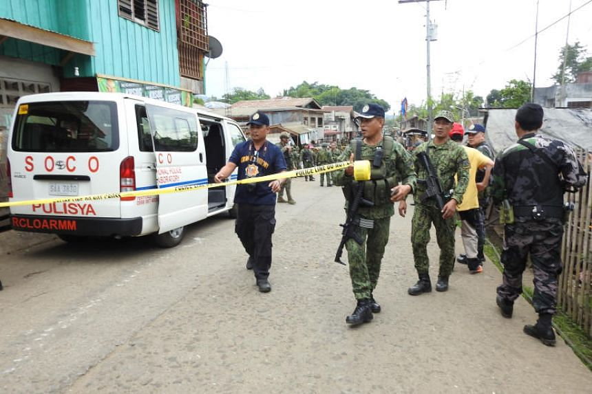 In the attack on June 28, 2019, two militants set off bombs strapped to their bodies at the temporary camp of the 1st Brigade Combat team in Indanan town on Jolo island, in the Philippines' restive south.